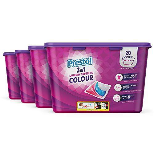 Marca Amazon - Presto! Detergente en cápsulas para lavadora 3 en 1 Ropa de color, paquete de 2 - 80 lavadas