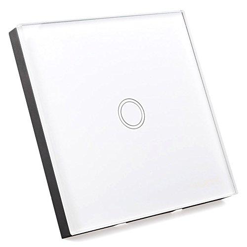 SODIAL Interruptor de luz con Interruptor de pared de pantalla tactil de vidrio de control remoto 1 via blanco interruptor