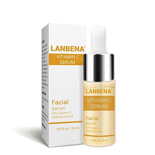 Suero de vitamina C con ácido hialurónico Suero facial hidratante antienvejecimiento Quite las manchas oscuras de la peca para el rostro, el cuello y el escote, 15ml