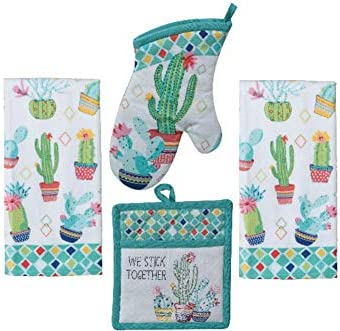 Kitchen Linen Set Cactus Garden Design 4 Piece Bundle Includes 2 Terry Towels 1 Oven Mitt and product image