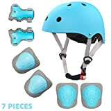 Toddler Helmet and Pads for 2-8 Years Adjustable Kids Bike Helmet Knee Elbow Pads and Wrist Guards for Skateboarding Roller Blading Scooter Riding Bicycling Skating and More (Ice Blue, S)