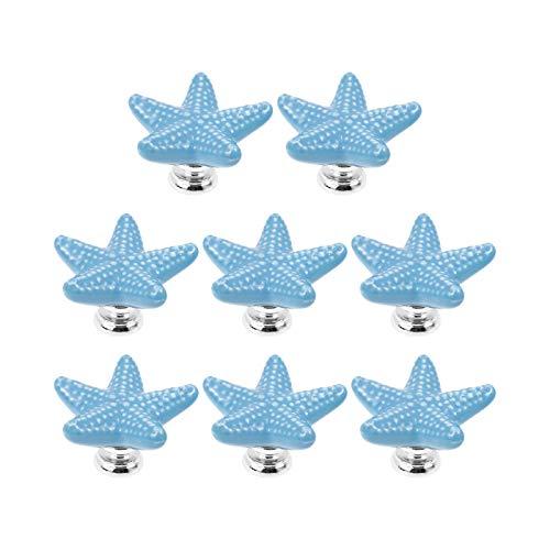 Geesatis 8 Pcs Ceramic Starfish Drawer Knobs Pulls Decorative Furniture Handles Knobs Cupboard Knobs Pulls, with Mounting Screws, Sky Blue