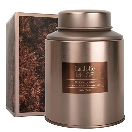 LA JOLIE MUSE Woody Leather Scented Candle, Natural Wax Candle for Home, 100 Hours Long Burning, Holiday Candle, Tin, 13Oz