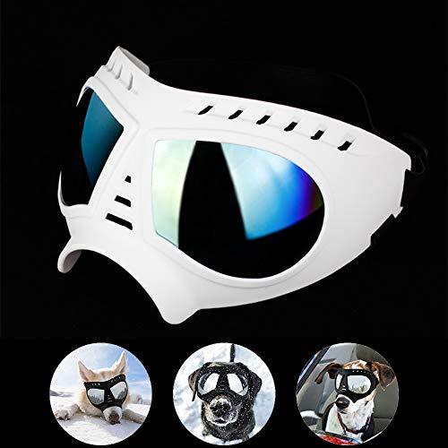HXHH Mascota Máscara Gafas, Ajustables a Prueba de Agua y la Nieve a Prueba de Grandes Gafas con Estilo Perro, Marco Suave Suministros para Perros Gafas, adecuados para el esquí al Aire Libre,Blanco