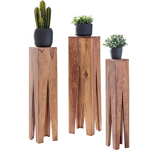 FineBuy Beistelltisch 3er Set Massivholz Akazie Wohnzimmer-Tisch Design Säulen Landhausstil Couchtisch quadratisch Holztisch Natur-Produkt braun Echt-Holz Unikat Türme 4 Stanbeine Anstelltische