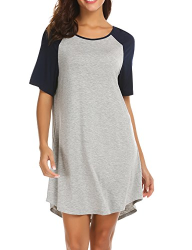 Ekouaer Tank Sleepshirt Cute Nightgown Tee Shirt Fashion Loungwear for Women Navy