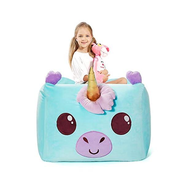 Aubliss Unicorn Stuffed Animal Storage Bean Bag Chair 24×20 Inch Unicorn Bean Bag Chair with Strong Zipper Soft Velvet Plush Organization for Kids (Cyan Bean Bag Cover Only)