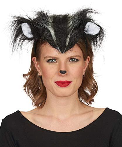 Andrea Moden 3884101 - Haarreif Stinki, mit Ohren und Stinktierstreifen, Stinktier, Tier, Tiara, Motto Party, Karneval