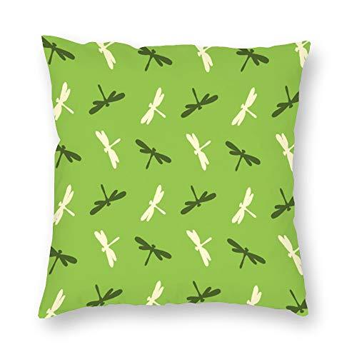 Funda de almohada de doble cara de impresión verde de dibujos animados libélula de impresión de la funda de cojín corto de felpa con cremallera oculta cómoda cuadrada para dormitorio sofá de 18 x 18 pulgadas