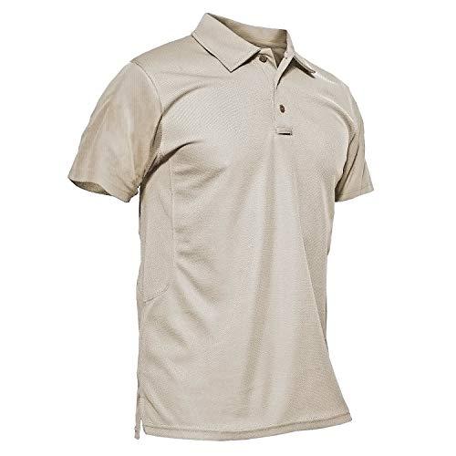 KEFITEVD T-Shirts à Séchage Rapide pour Hommes Casual Travail Léger Randonnée Tops à Manches Courtes Kaki