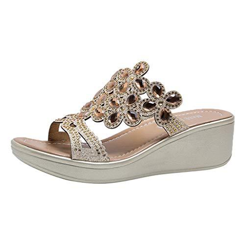 TIFIY Sandalen Frauen Damen Plattform Bohemian Style Wedges Causal Schuhe Hausschuhe Sandalen Innen Retro Stilvoll Grundlegend Sandalen Gold 39