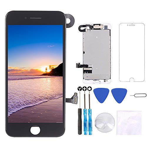 for iPhone 7 Screen Replacement Black 4.7', LCD Display with 3D Touch Digitizer Frame Full Assembly Repair Kit, with Proximity Sensor, Ear Speaker, Front Camera, Screen Protector, Repair Tools
