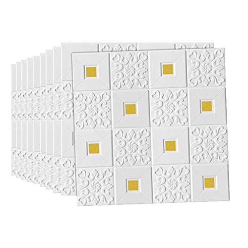 PLLP Neuheit Wandaufkleber, 10 Packungen 3D selbstklebende Wandaufkleber Wasserdichte Pe Foam Wandpaneel für Home Tv Wanddecke Dekoration Tapete, kann 4,9㎡ abdecken