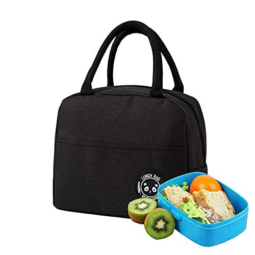 Sac à Lunch Isotherme Portable, Petit sac de Boîte à Lunch étanche et Résistant à l'huile, sac Isolé de Nourriture de Pique-nique, Convient pour Pique-nique, école, Bureau, Extérieur (Noir)