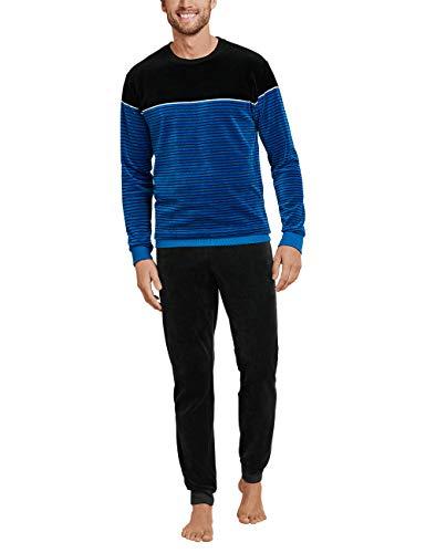 Schiesser Herren lang Zweiteiliger Schlafanzug, Blau (Bue/Black Royal 819), 52