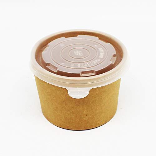 100 Stück Soup To Go Suppenbecher Suppenschale Thermobecher MIT DECKEL, Braun, Pappe, 8oz / 235ml, geeigent für Suppe, Nudeln, Eintopf etc.