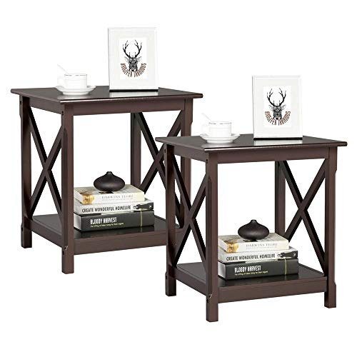 YAHEETECH Sofa Side End Tables with Storage Shelf, Bedside Side Table Nightstand for Bedroom Living Room, Set of 2, Espresso