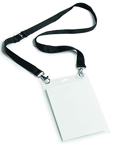 Durable 852501 Event-Namensschild A6 mit Textilband Duo, 10 Stück schwarz