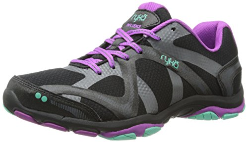 Ryka Women's Influence Cross Training Shoe, Black/Sugar Plum/Vivid Aqua, 9 M US