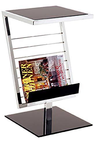 Haku Möbel Beistelltisch -Stahlrohr verchromt -Ablage schwarzes Sicherheitsglas H 60 cm