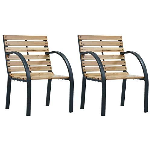 vidaXL 2X Sillas de Jardín Asientos de Exterior Patio Terraza Sillon de Porche Muebles Sentarse Afu