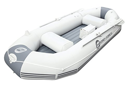 Bestway HydroForce Marine Pro Inflatable Jon Boat | Raft Includes Oars, Cushioned Seats, & Built-in...