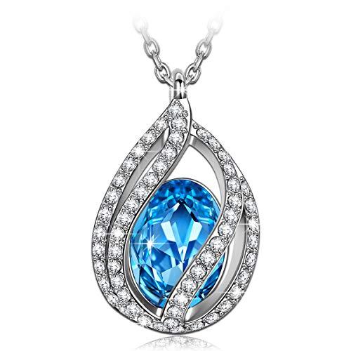 Kami Idea Regalos dia de la Madre Mujer Collar luz de la luna Colgante Chapado en Oro Blanco Cristales de Swarovski Azul Regalos de Madres Joyeria para Aniversario Cumpleaños Ella Mamá Chicas Dama