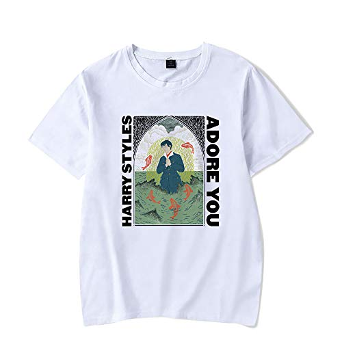 Hip Hop Harry Styles T-Shirt Fine Line Love on Tour-Frauen-Sommer-Harajuku Top Tees Female T-Shirt Grafik-T-Shirt,Orange,XL