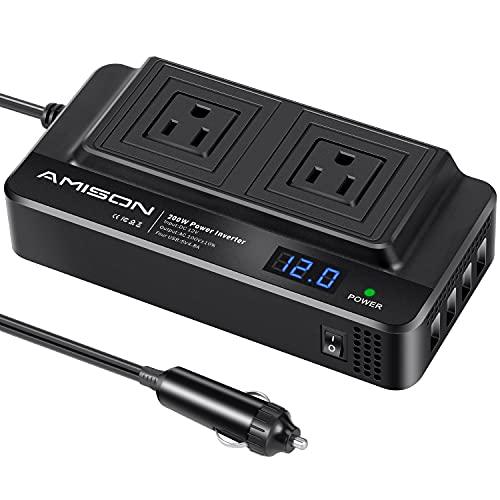 Amison インバーター 200w シガーソケットコンセント カーコンバーター DC12V /AC 100Vに変換 車載充電器 ACコンセント2口 USB 4ポート
