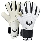 Renegade GK Eclipse Phantom Professional Goalie Gloves with Pro Finger Spines | 4mm EXT Contact Grip | White & Black Soccer Goalkeeping Gloves (Size 8, Youth-Adult, Neg. Cut, Level 5)