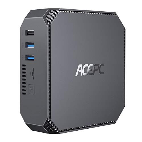 ACEPC Mini PC Windows 10 Pro, 8GB DDR3 120GB m-SATA SSD Intel Celeron J3455 Mini Desktop Computer, Unterstützung für 2,5 \'\' SSD/HDD, 4K HD, Dual-Band WLAN, Gigabit Ethernet,Dual HDMI