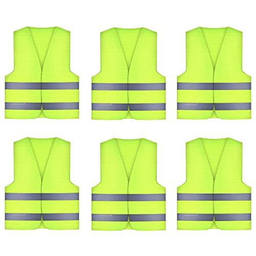 Xinyuan 6 Stück Warnwesten Unisex Sicherheitsweste,Unfallweste waschbar 360 Grad Refflektierend,KFZ Pannenhilfe Reflektorweste für Autofahrern Fahrern Arbeitskräften