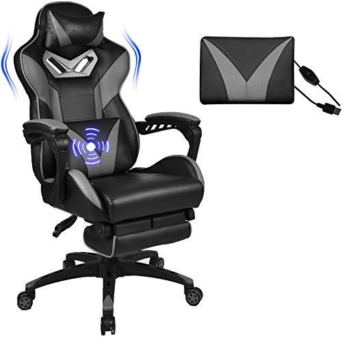 Sedie per ufficio, sedie, sedie di gioco gioco di corse in stile, cuscino di massaggio lombare, poggiatesta regolabili, poggiapiedi a scomparsa, gray movement