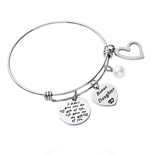 BESPMOSP Gifts For Daughter In Law Step Daughter Bracelet Bangle Jewellery Family Presents For Teen Girls Birthday Gift (Style1)