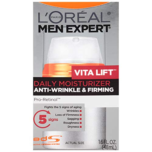 L'OREAL PARIS Men Expert Vitalift Anti-Wrinkle & Firming Face Moisturizer with Pro-Retinol, Face Moisturizer for Men, Beard and Skincare for Men, 1.6 oz