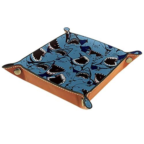 MUMIMI Bandeja de joyería para decoración del hogar, regalo de boda para ella pequeño anillo titular mar enojado tiburón dientes azul patrón