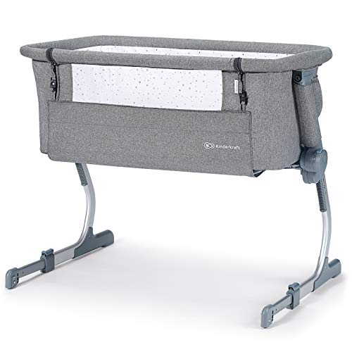 Kinderkraft Cuna Colecho UNO UP, Plegable, con Accesorios, Co-Sleeping, Gris