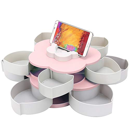 Coldshine Flower Rotating Candy Box 2-Layer Dried Fruit Plate Snack-Serving Tray Flower-Shaped Snack Box Storage Containers Snack Serving Tray with Phone Hold for Home Party Wedding Decoration (Pink)