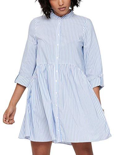 ONLY Damen Onlditte Life Stripe 3/4 Noos Wvn Casual Dress, Cloud Dancer, 38 EU
