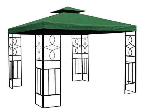 Trendkontor WASSERDICHTER Pavillon 3x3m Grün ROMANTIKA Metall inkl. Dach Festzelt wasserfest Partyzelt