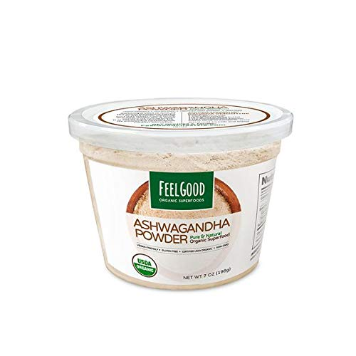 USDA Certified Organic Ashwagandha Powder (7 oz -198g)- Vegan Friendly, Gluten-Free, Non-GMO – Promotes Cardiovascular Health, Immune Function, Relaxation.