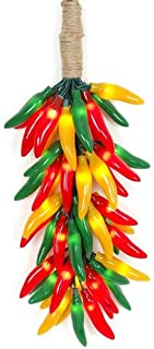 Novelty Lights CP-Cluster Chili Pepper Clustered Mini Light Set, Red/Green/Yellow, Green Wire, 50 Light, 9