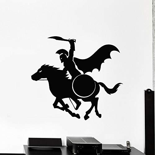 WERWN Pegatinas de Vinilo para Pared, Guerrero Griego Antiguo, Escudo de Montar, Pegatina para Ventana, Mural Genial, Dormitorio para niños, área de Juegos, decoración del hogar
