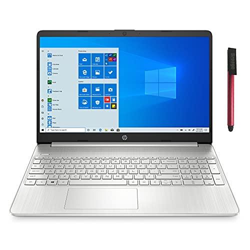 "HP 15 15.6"" FHD Laptop Computer, AMD Ryzen 3 3250U up to 3.5GHz, 4GB DDR4 RAM, 128GB SSD, 802.11AC WiFi, Bluetooth 5.0, Webcam, Type-C, HDMI, Silver, Windows 10 S, BROAGE 64GB Flash Drive"