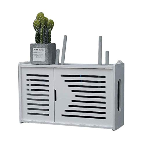 Zidao Estante Router inalámbrico, Estante de la Pared Memoria del Router WiFi Configurar Soporte del Estante de Pantalla multifunción para Ministerio del Interior y fácil fácil de Instalar,Blanco