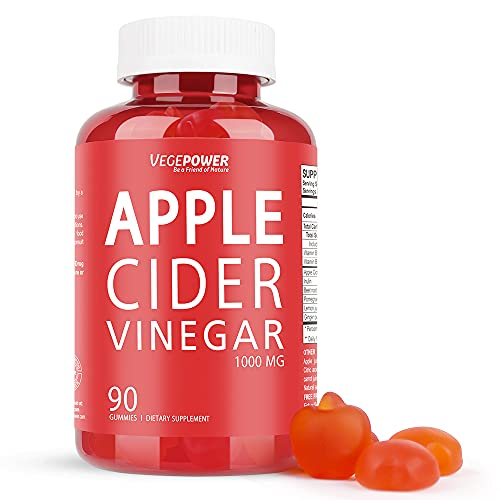 Apple Cider Vinegar Gummies with The Mother, (90 Count) 1000mg Vegan Vitamin Gummy for Weight Control, Detox & Cleanse, Support Immunity, Energy, B12, B6, Alternative to ACV Capsules, Pills, Tablets