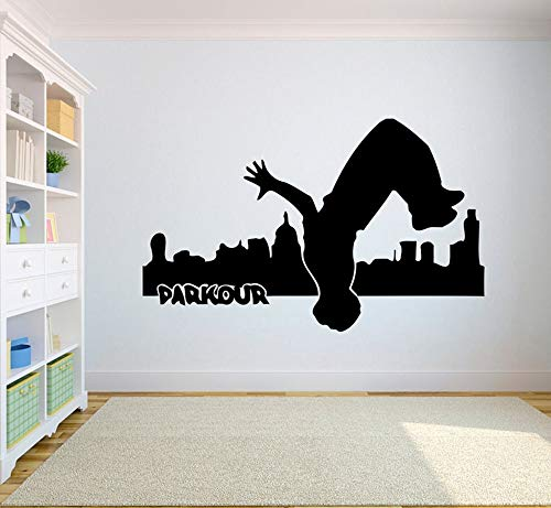 Cool Fashion Extreme Sports Logo Backflip Dance Parkour Action Wall Sticker Vinilo Art Decal Adolescente Boy Fans Dormitorio Sala de estar Club Studio Home Decor Mural