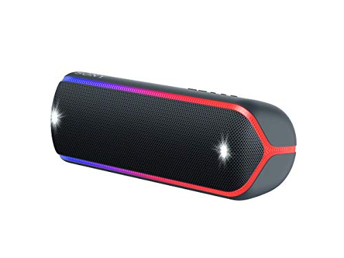 Sony SRS-XB32 kabelloser Bluetooth Lautsprecher (tragbar, NFC, farbige Lichtleiste, Extra Bass, Stroboskoplicht, wasserabweisend, kompatibel mit Party Chain) schwarz