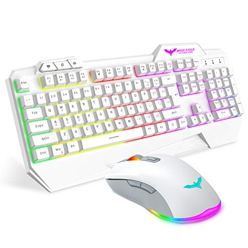 havit Gaming Tastatur und Maus Set, Gaming Tastatur mit LED Hintergrundbeleuchtung QWERTZ (DE-Layout), Wired RGB Gaming Maus mit 4800 DPI und 6 programmierbare Tasten (White-Weiß)