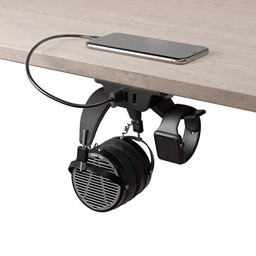 HumanCentric Headphone Stand with USB Charger (Black) | Under Desk Headset Hanger and Mount with 3 USB-A Ports | Gaming, Computer, and PC Accessory